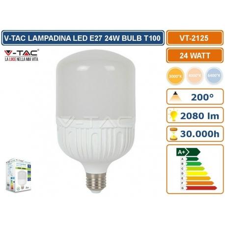 V-TAC VT-2125 LAMPADINA LED E27 24W BULB T100  FASCIO LUMINOSO 200° BIANCO CALD