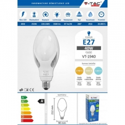 V-TAC VT-1940 LED bulb and27 40W CORNBULB 90X12 LIGHT BEAM 280° white